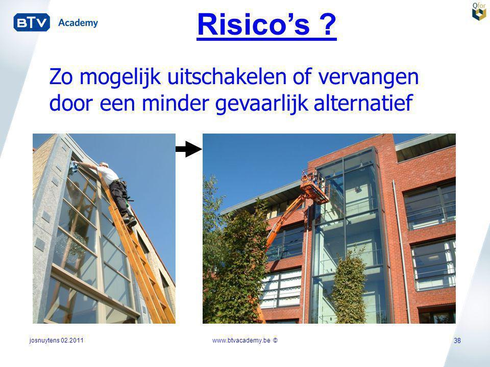 Risico's Zo mogelijk uitschakelen of vervangen door een minder gevaarlijk alternatief. josnuytens 02.2011.