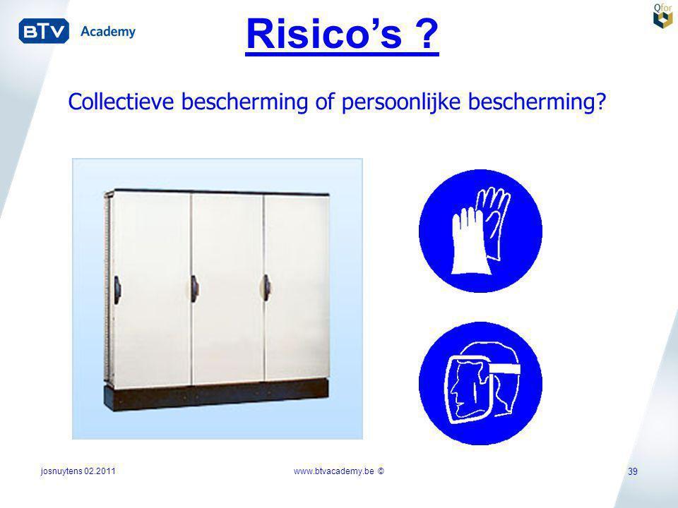Risico's Collectieve bescherming of persoonlijke bescherming