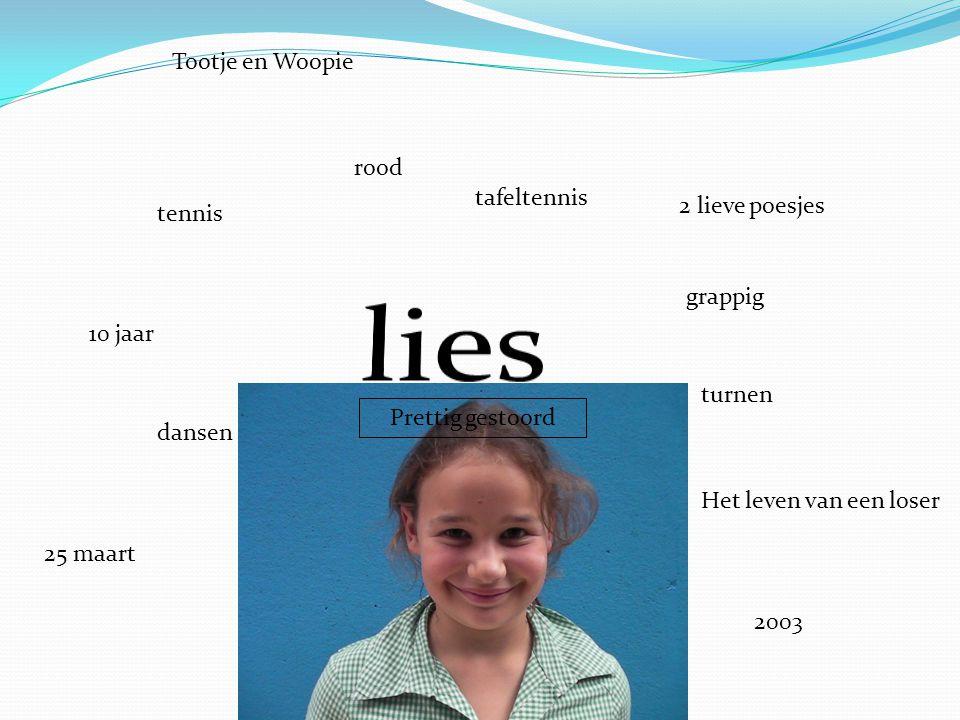 lies Tootje en Woopie rood tafeltennis 2 lieve poesjes tennis grappig