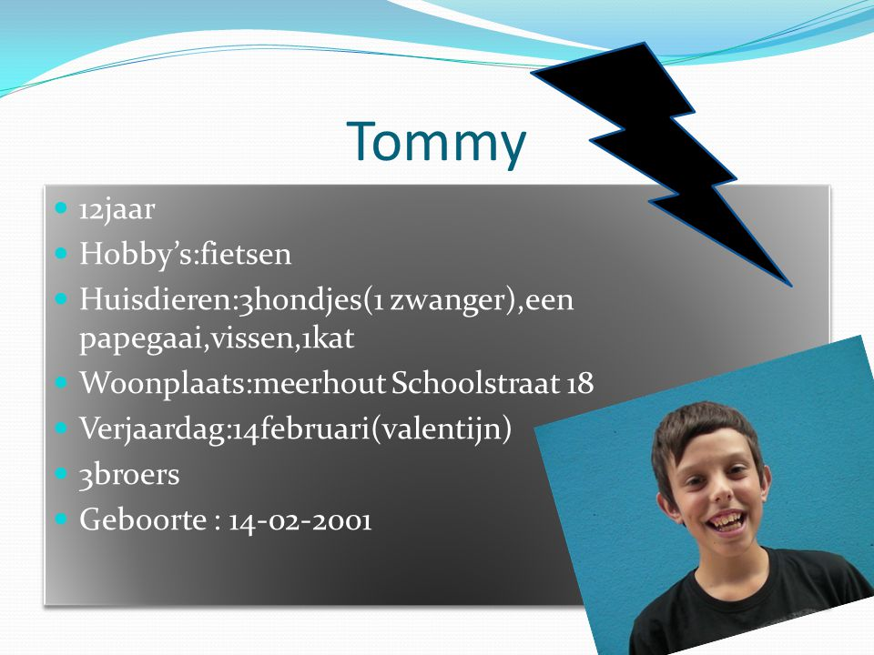 Tommy 12jaar Hobby's:fietsen