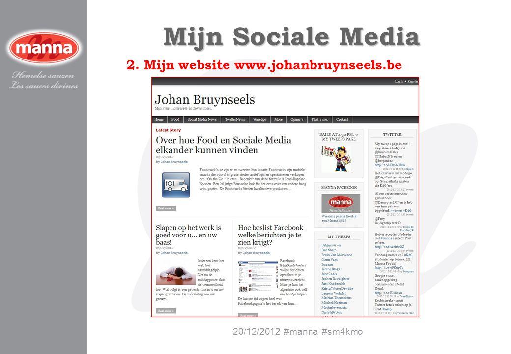 Mijn Sociale Media 2. Mijn website www.johanbruynseels.be