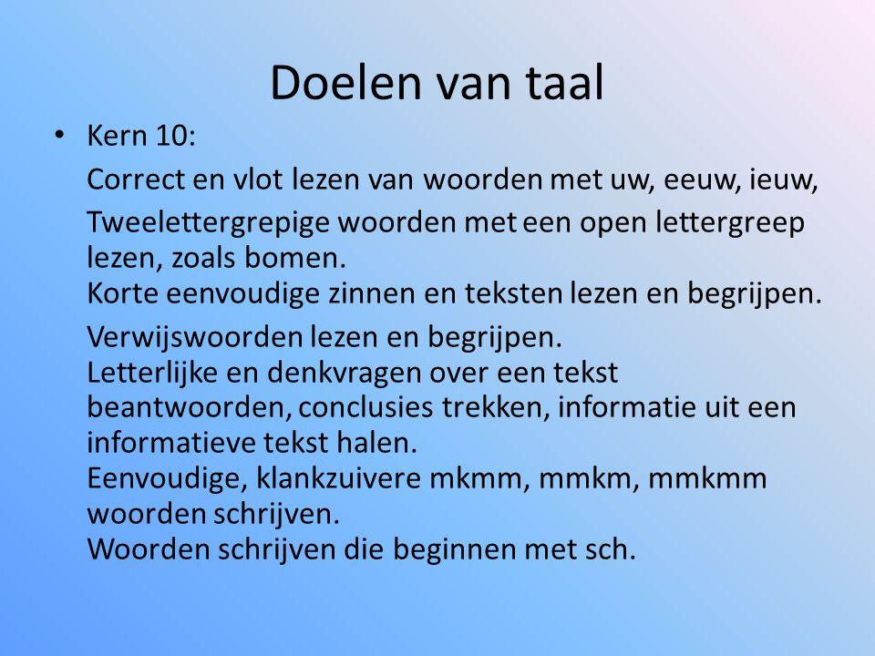 Doelen van taal Kern 10: Correct en vlot lezen van woorden met uw, eeuw, ieuw,