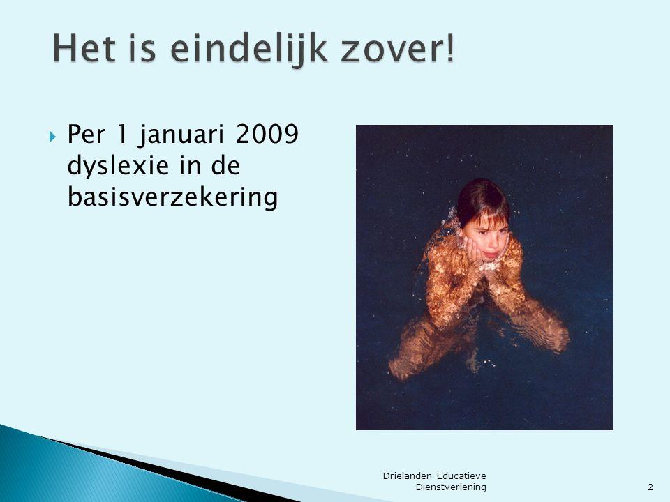 Het is eindelijk zover. Per 1 januari 2009 dyslexie in de basisverzekering.