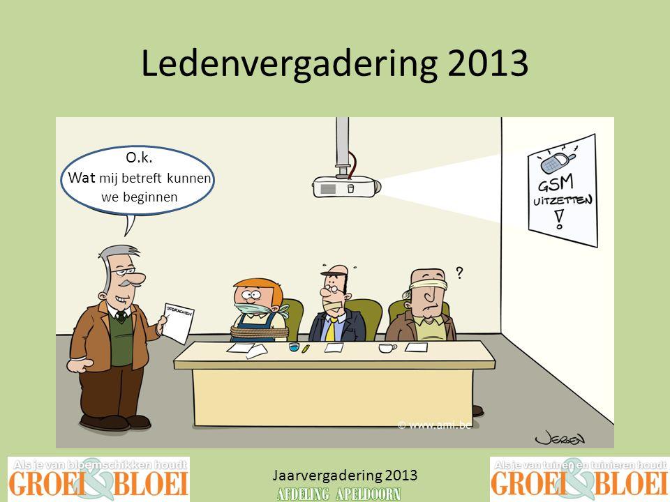 Ledenvergadering 2013 O.k. Wat mij betreft kunnen Jaarvergadering 2013