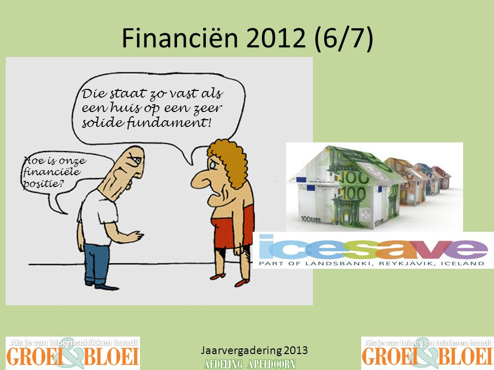 Financiën 2012 (6/7) Die staat zo vast als een huis op een zeer solide fundament! Hoe is onze financiële positie
