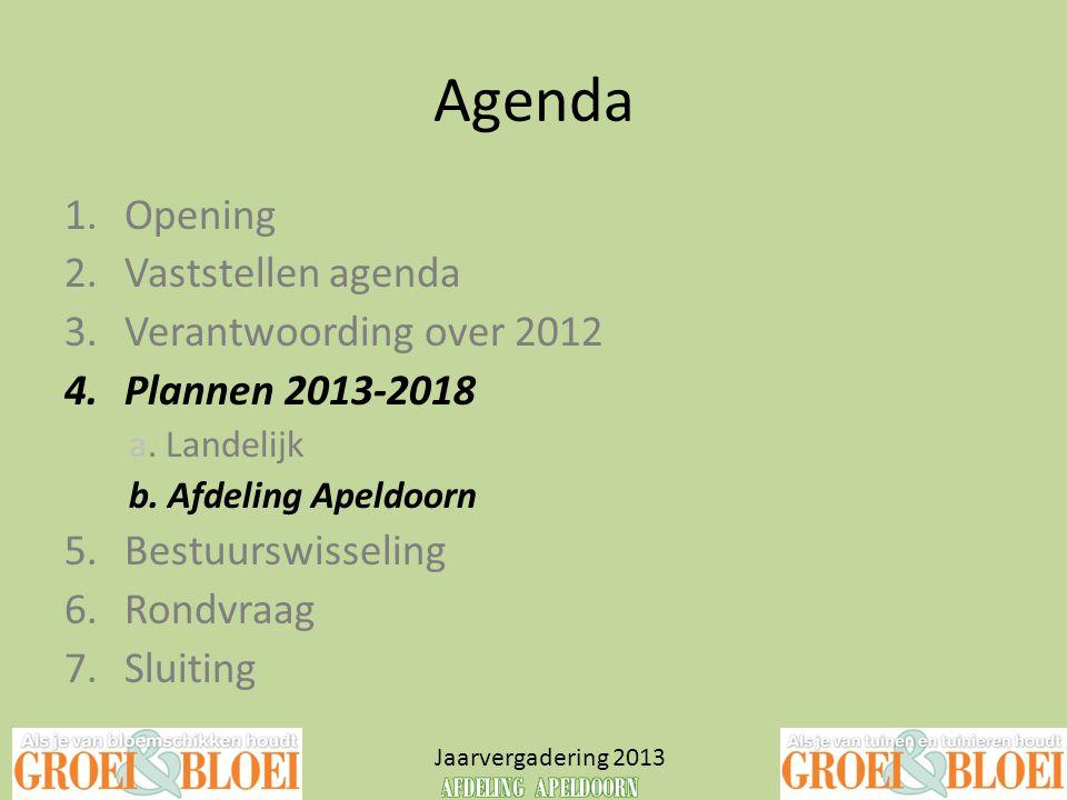 Agenda Opening Vaststellen agenda Verantwoording over 2012