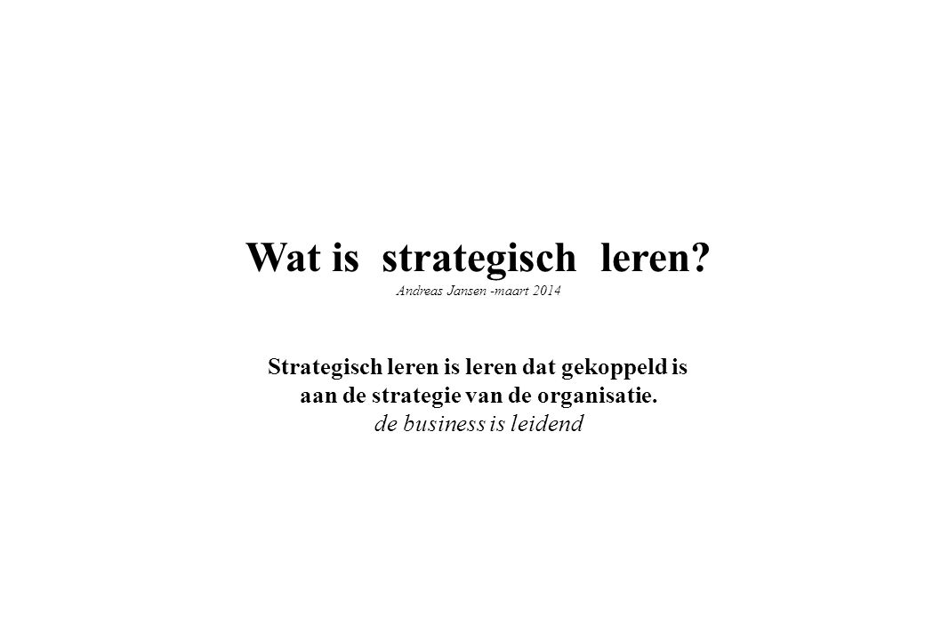 Wat is strategisch leren
