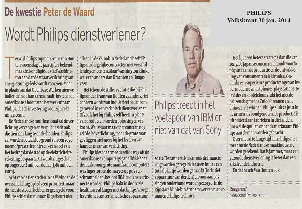 PHILIPS Volkskrant 30 jan. 2014