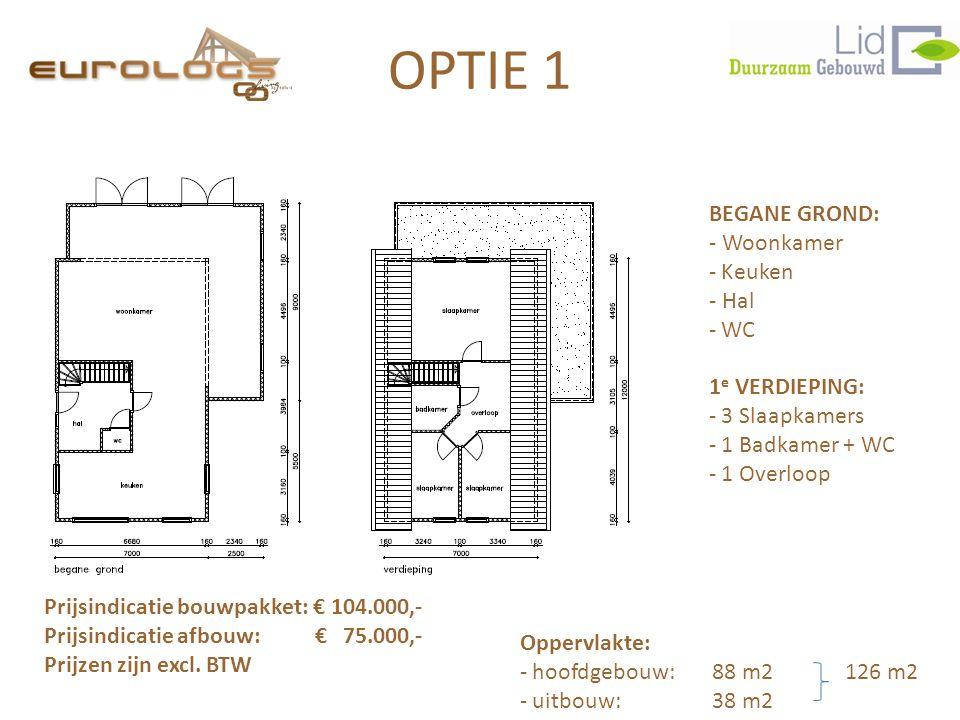 OPTIE 1 BEGANE GROND: - Woonkamer Keuken - Hal WC 1e VERDIEPING:
