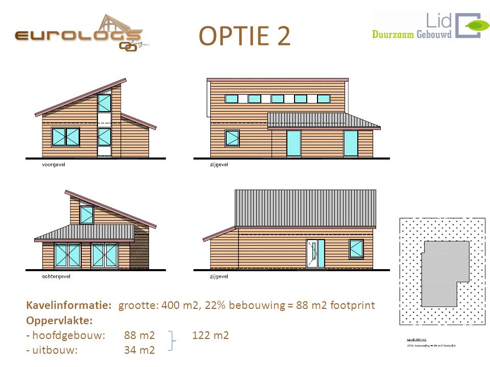 OPTIE 2 Kavelinformatie: grootte: 400 m2, 22% bebouwing = 88 m2 footprint. Oppervlakte: hoofdgebouw: 88 m2 122 m2.