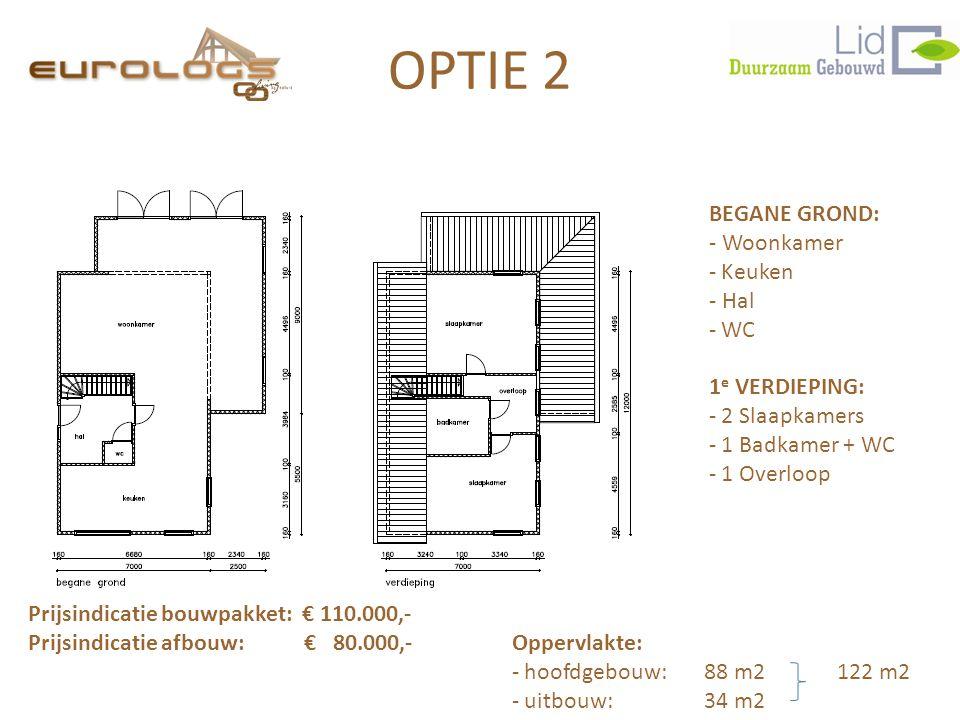 OPTIE 2 BEGANE GROND: - Woonkamer Keuken - Hal WC 1e VERDIEPING: