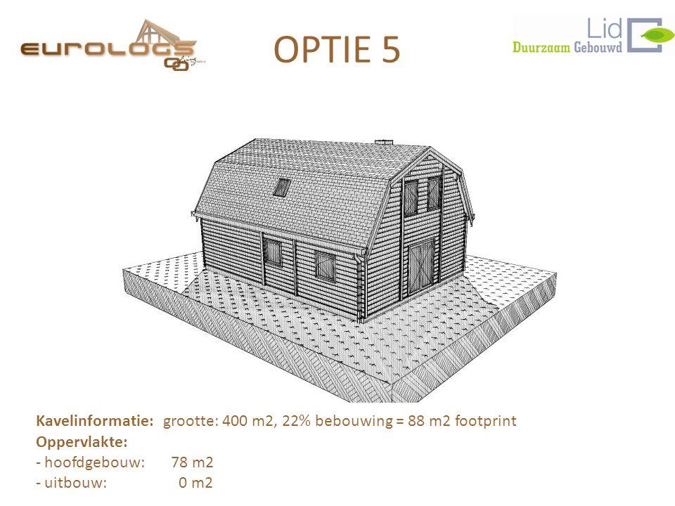 OPTIE 5 Kavelinformatie: grootte: 400 m2, 22% bebouwing = 88 m2 footprint. Oppervlakte: hoofdgebouw: 78 m2.