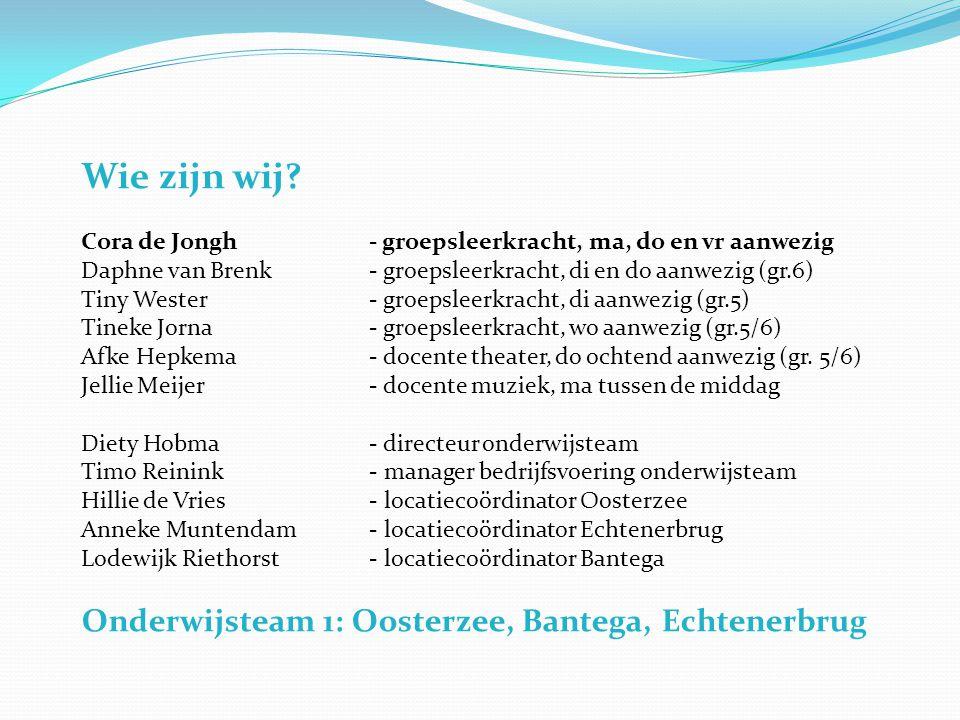 Wie zijn wij Onderwijsteam 1: Oosterzee, Bantega, Echtenerbrug