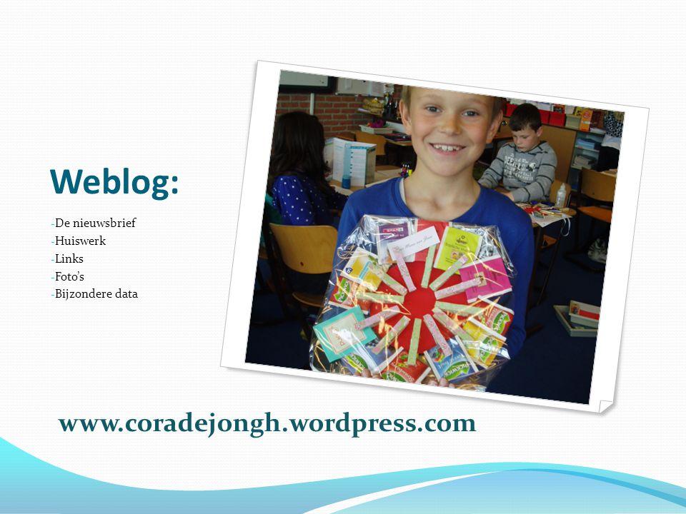 Weblog: www.coradejongh.wordpress.com De nieuwsbrief Huiswerk Links