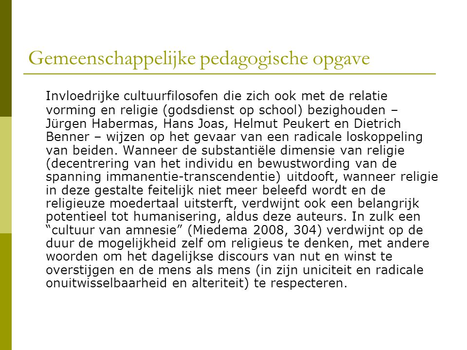 Gemeenschappelijke pedagogische opgave