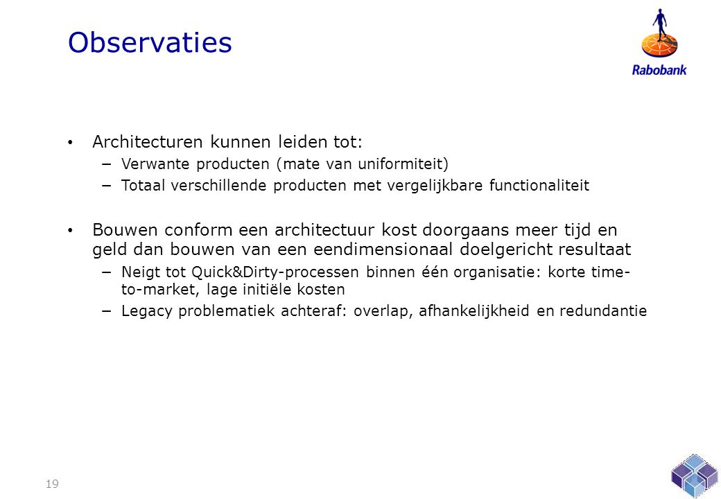 Observaties Architecturen kunnen leiden tot: