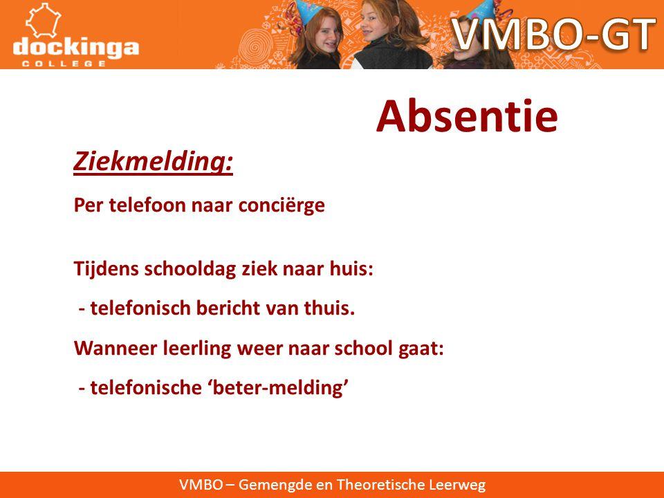VMBO-GT Absentie Ziekmelding: Per telefoon naar conciërge