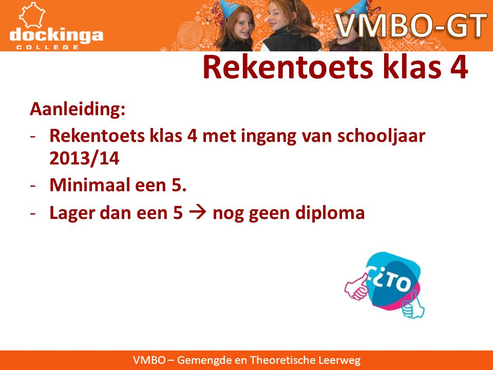 VMBO-GT Rekentoets klas 4