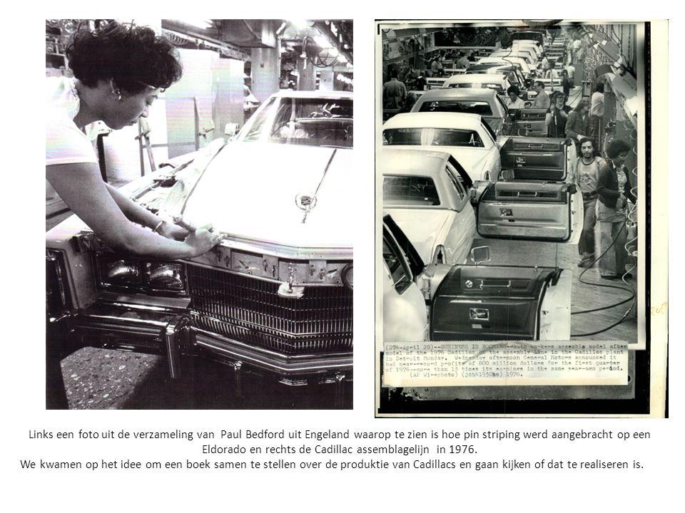 Links een foto uit de verzameling van Paul Bedford uit Engeland waarop te zien is hoe pin striping werd aangebracht op een Eldorado en rechts de Cadillac assemblagelijn in 1976.