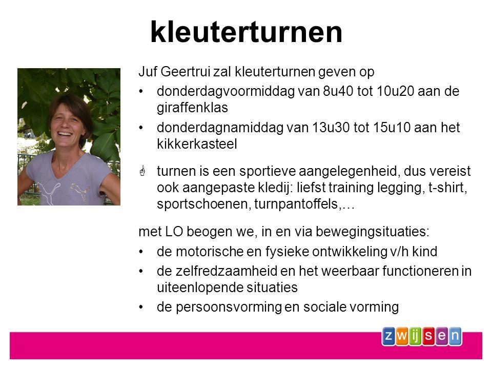 kleuterturnen Juf Geertrui zal kleuterturnen geven op