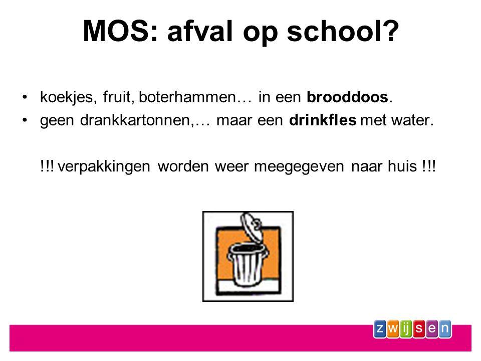 MOS: afval op school koekjes, fruit, boterhammen… in een brooddoos.