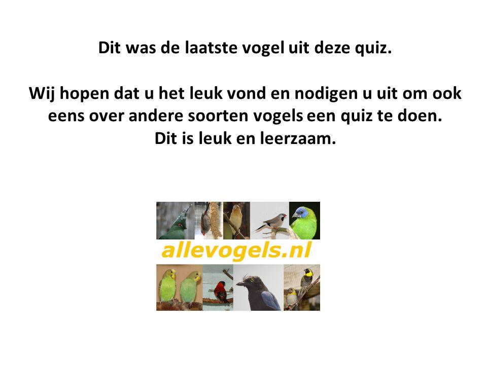 Dit was de laatste vogel uit deze quiz.