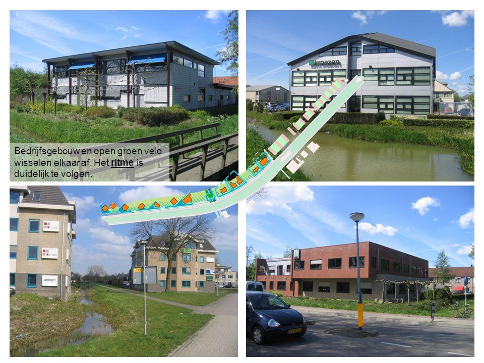 Bedrijfsgebouw en open groen veld wisselen elkaar af