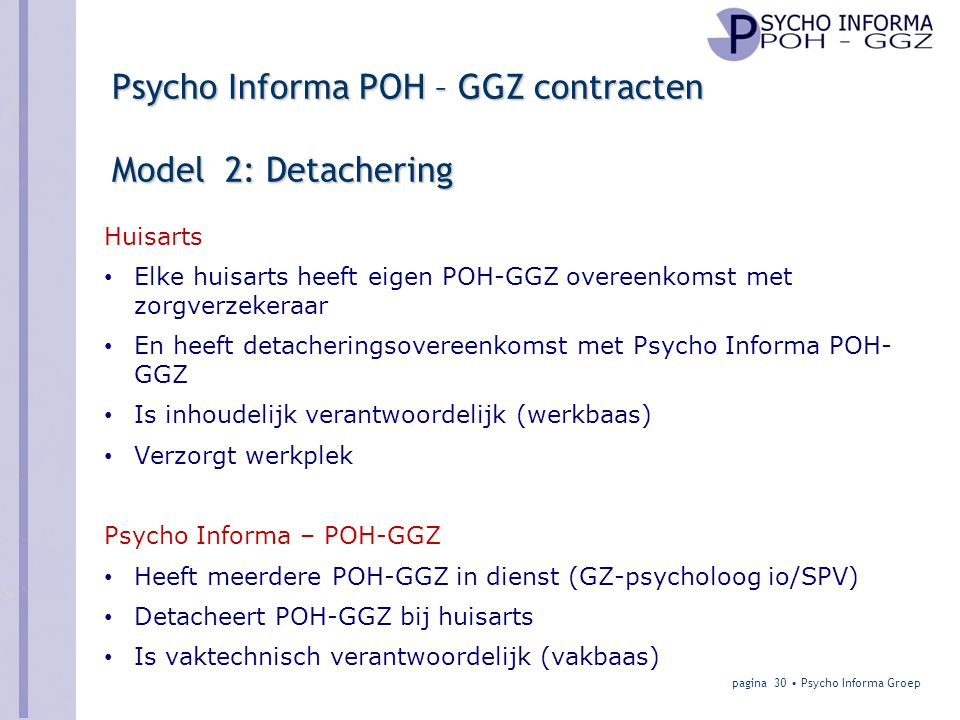 Psycho Informa POH – GGZ contracten Model 2: Detachering