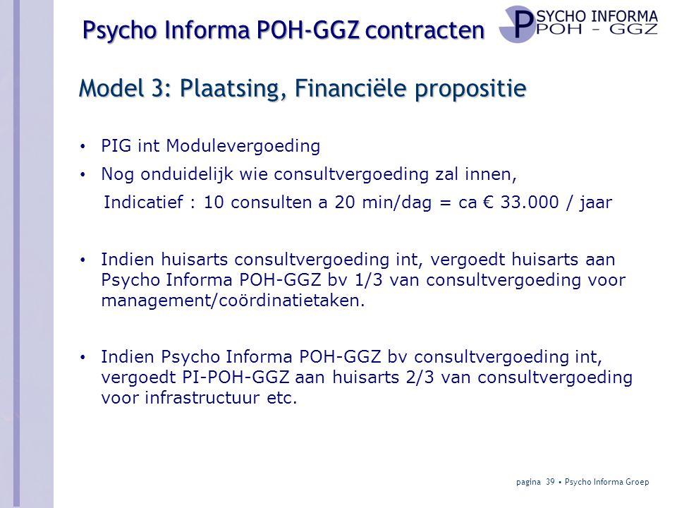 Model 3: Plaatsing, Financiële propositie