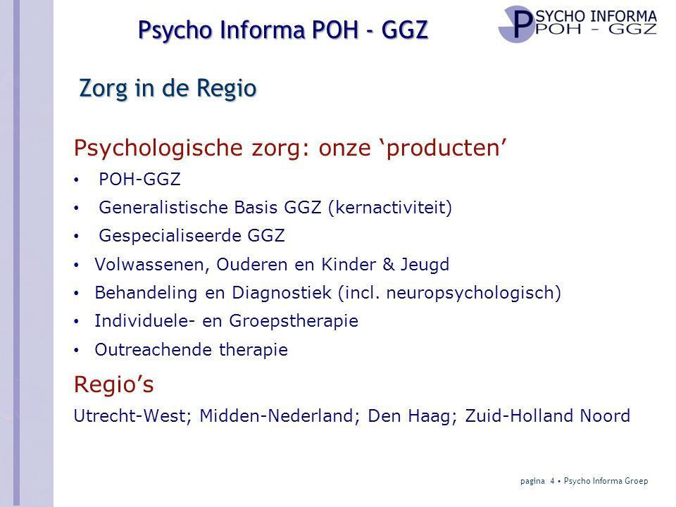 Zorg in de Regio Psychologische zorg: onze 'producten' Regio's POH-GGZ