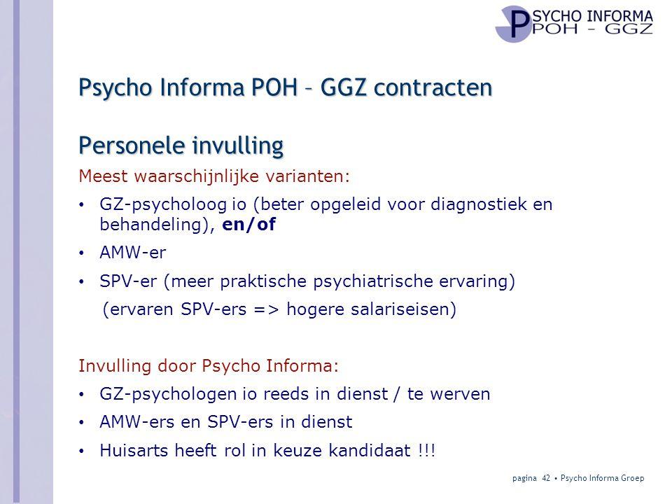 Psycho Informa POH – GGZ contracten Personele invulling