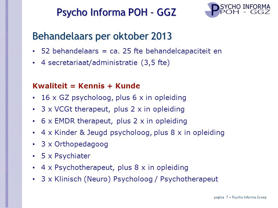 Behandelaars per oktober 2013