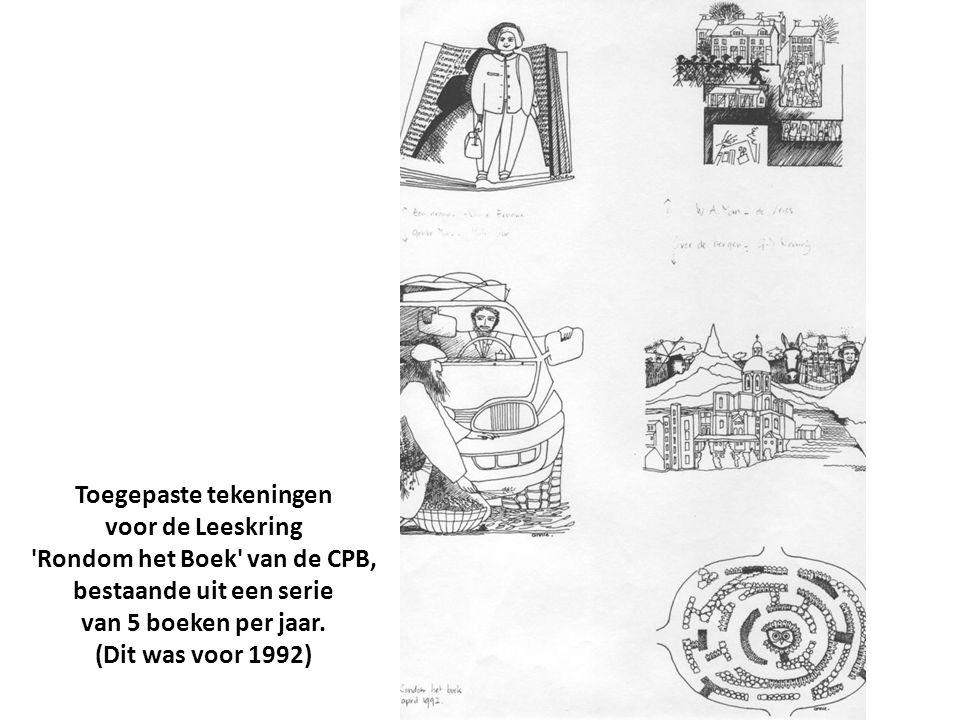 Toegepaste tekeningen voor de Leeskring Rondom het Boek van de CPB, bestaande uit een serie van 5 boeken per jaar.