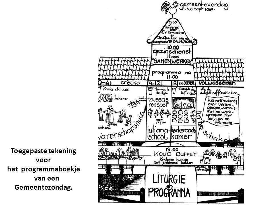 Toegepaste tekening voor het programmaboekje van een Gemeentezondag.