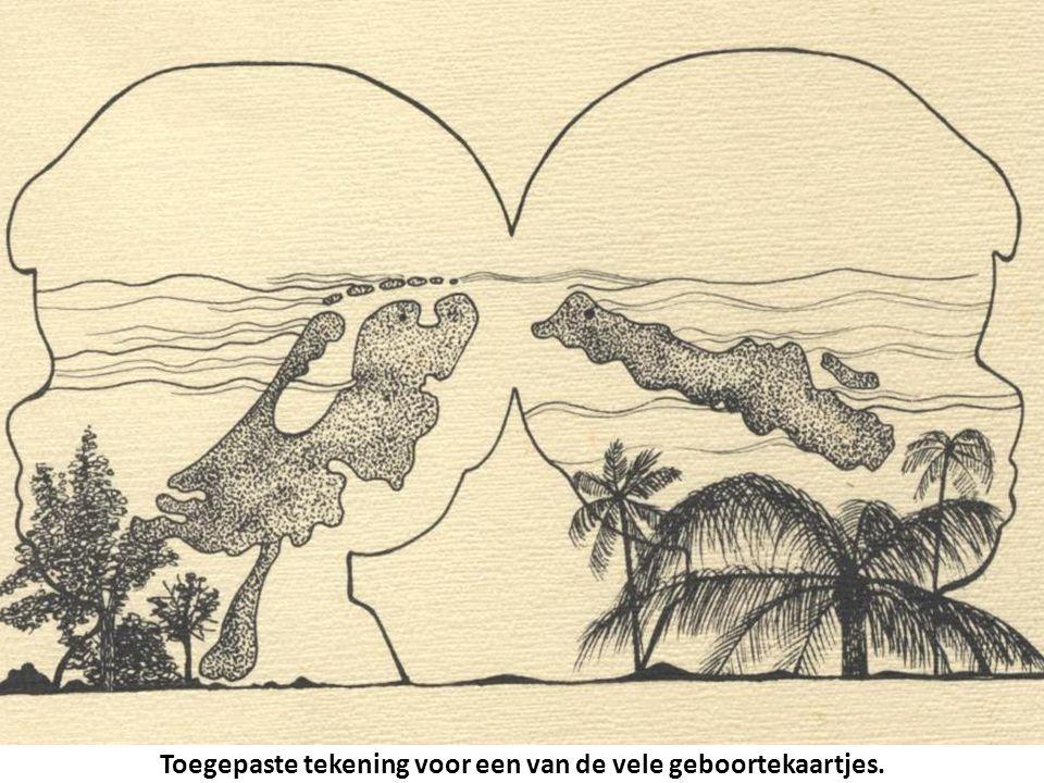 Toegepaste tekening voor een van de vele geboortekaartjes.