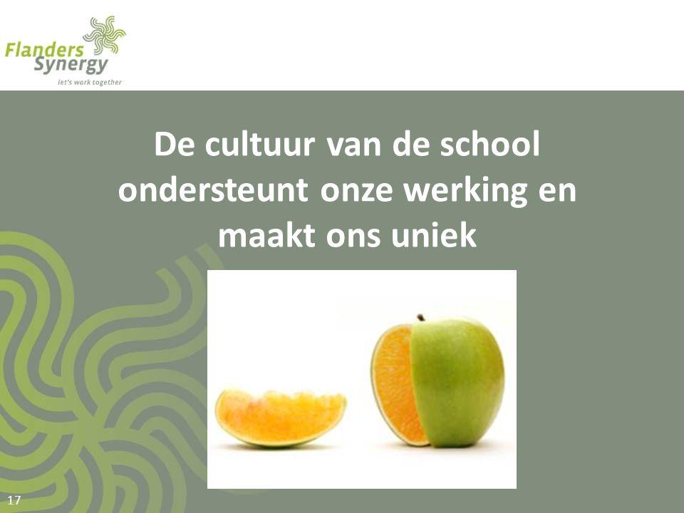 De cultuur van de school ondersteunt onze werking en maakt ons uniek