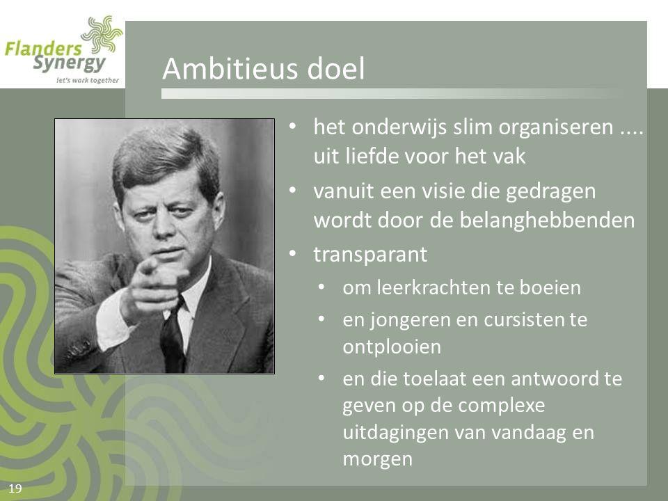 Ambitieus doel het onderwijs slim organiseren .... uit liefde voor het vak. vanuit een visie die gedragen wordt door de belanghebbenden.