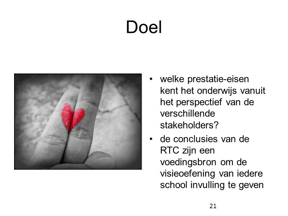 Doel welke prestatie-eisen kent het onderwijs vanuit het perspectief van de verschillende stakeholders
