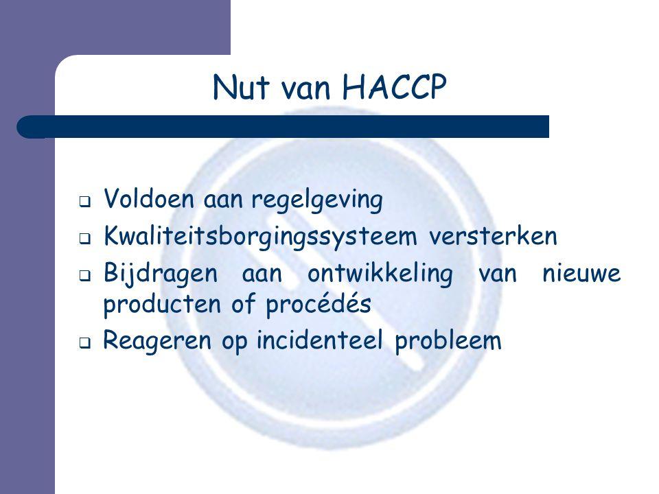 Nut van HACCP Voldoen aan regelgeving