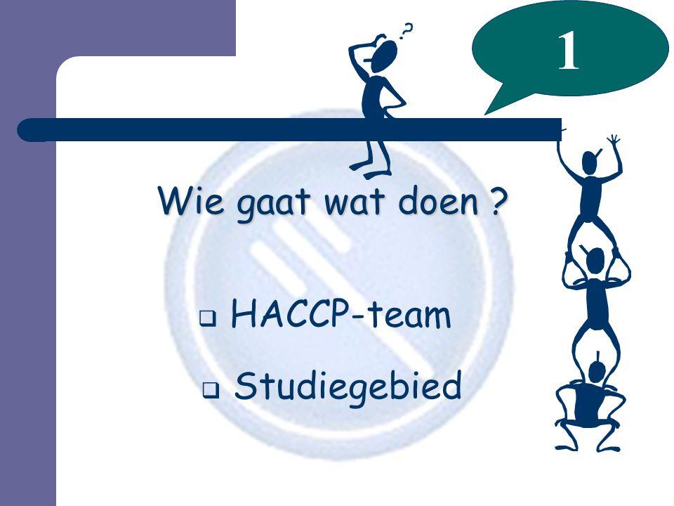 1 Wie gaat wat doen HACCP-team Studiegebied