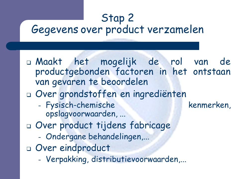 Stap 2 Gegevens over product verzamelen
