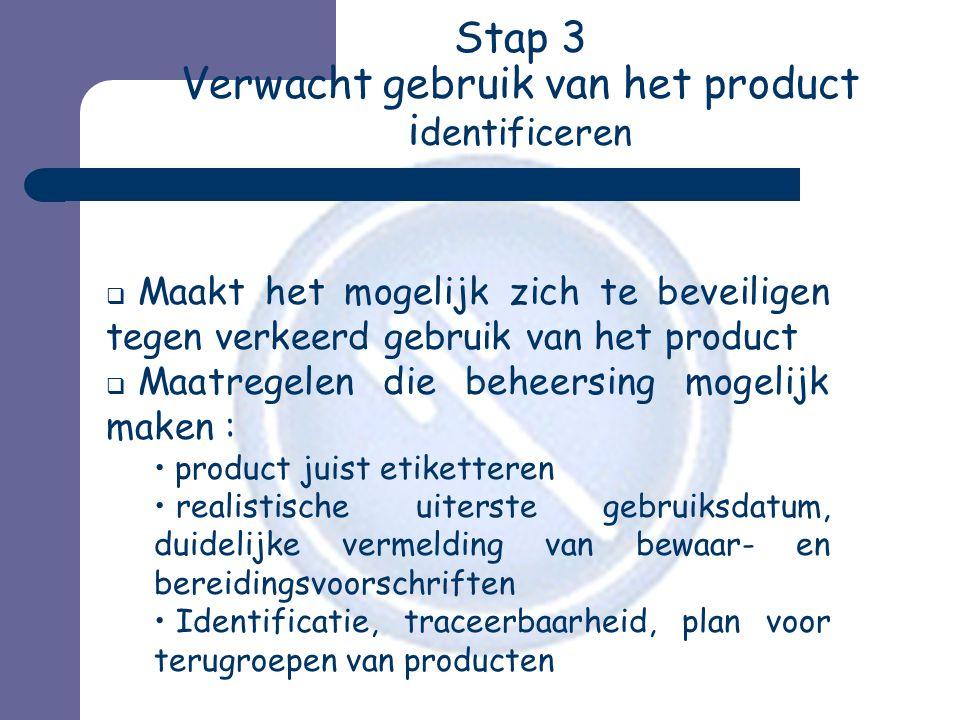 Stap 3 Verwacht gebruik van het product identificeren