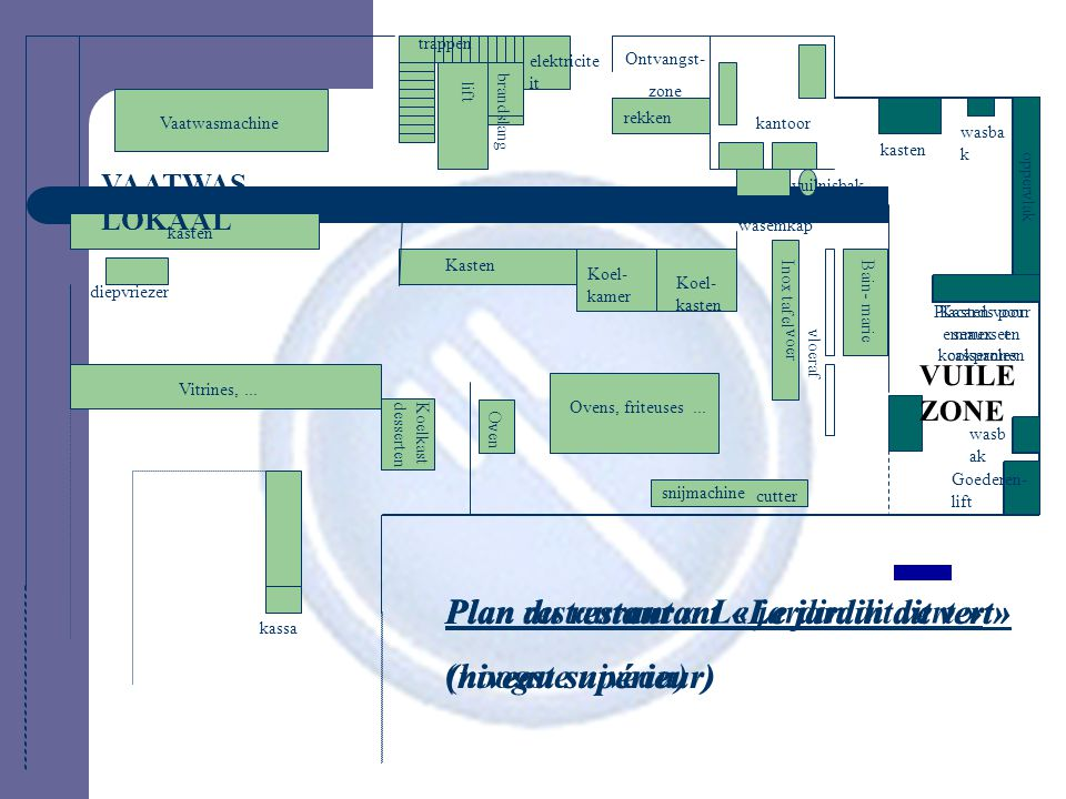 Plan restaurant « Le jardin dit vert » (hoogste niveau)
