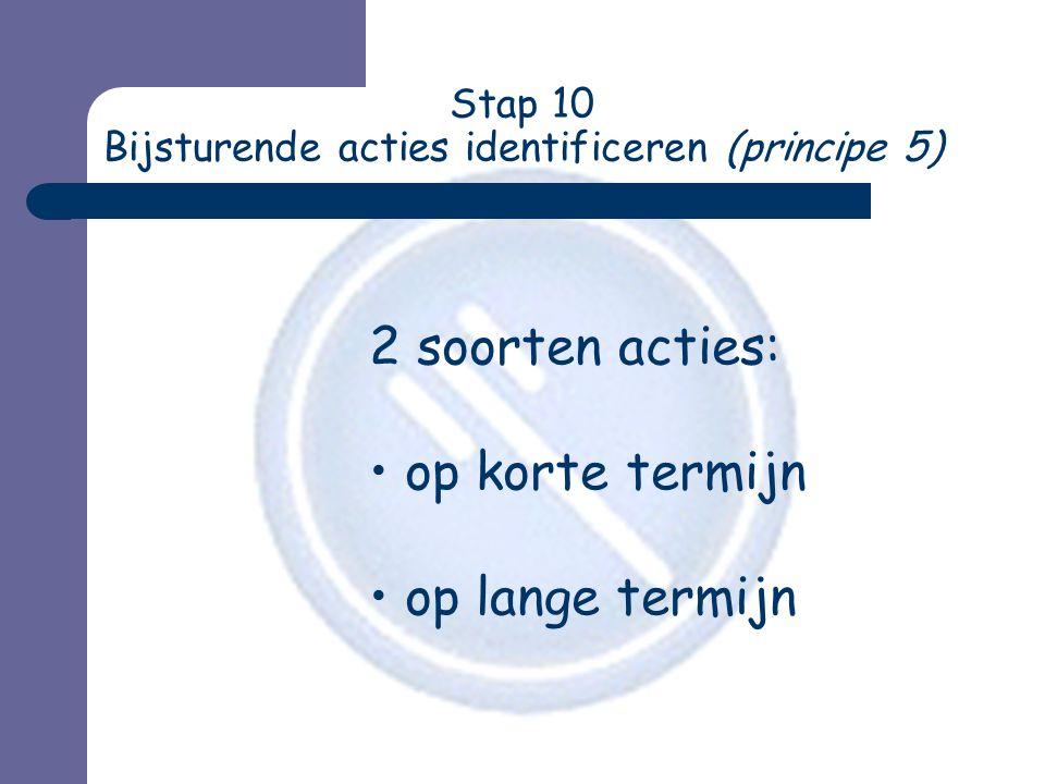 Stap 10 Bijsturende acties identificeren (principe 5)