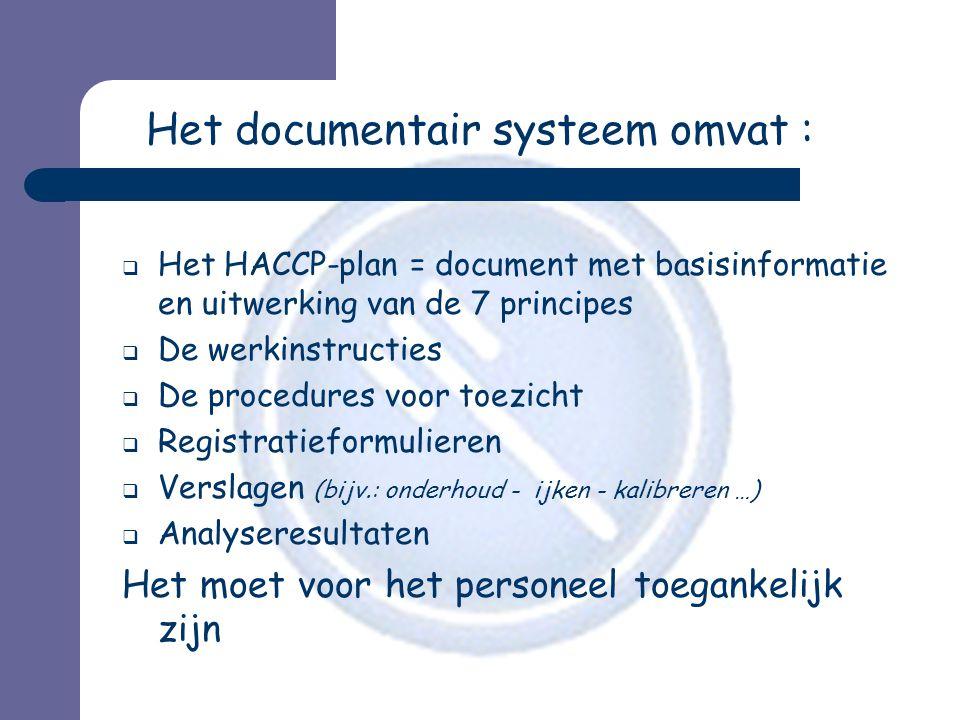 Het documentair systeem omvat :