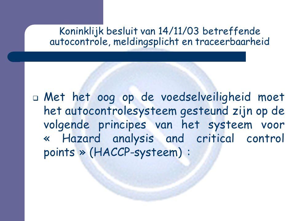 Koninklijk besluit van 14/11/03 betreffende autocontrole, meldingsplicht en traceerbaarheid