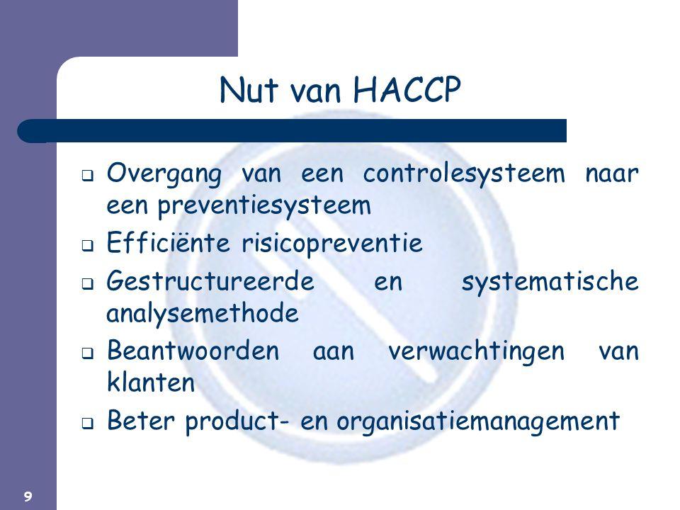Nut van HACCP Overgang van een controlesysteem naar een preventiesysteem. Efficiënte risicopreventie.