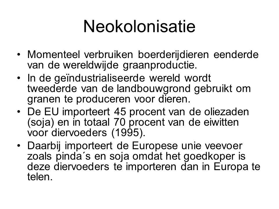 Neokolonisatie Momenteel verbruiken boerderijdieren eenderde van de wereldwijde graanproductie.