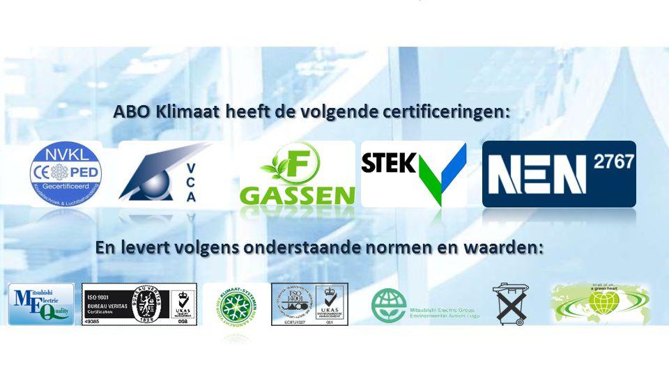 ABO Klimaat heeft de volgende certificeringen: