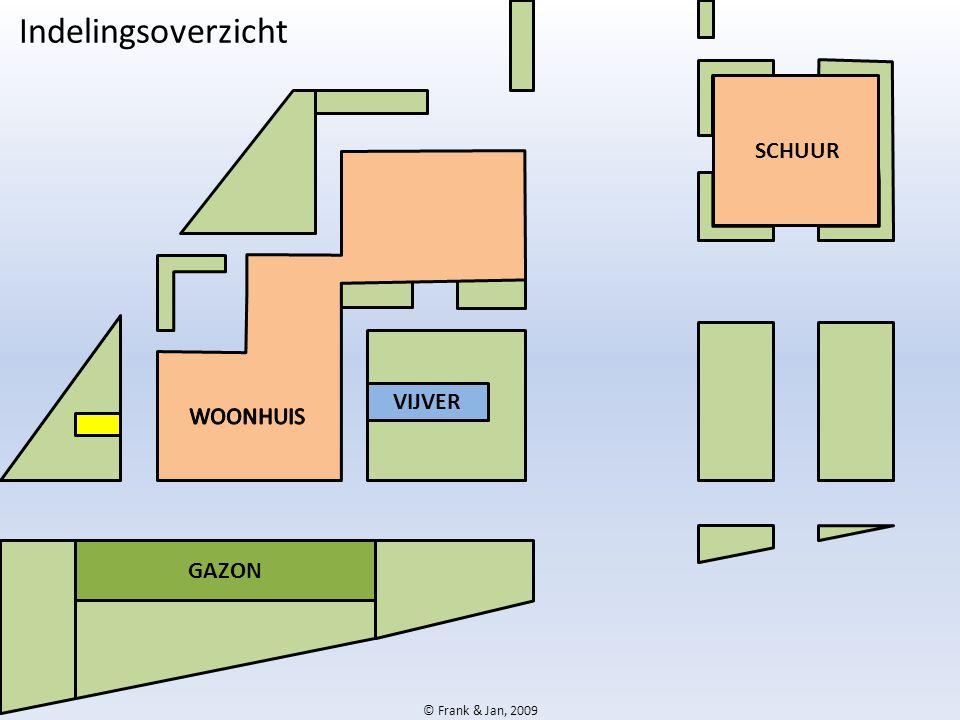 Indelingsoverzicht SCHUUR WOONHUIS VIJVER GAZON